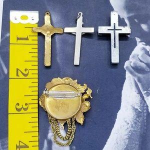 Vintage Jewelry - Vintage Cross, religious medal, brooch bundle #1